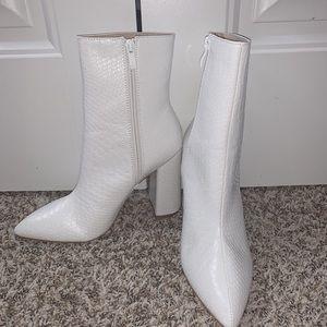 BRAND NEW Snakeskin White Boots